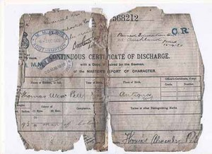 T Pell Certificate of Discharge 1919